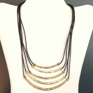 Chico's hammered graduated metal bar necklace NWT